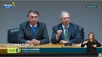 IMAGEM: Bolsonaro, parafraseando Guedes, diz que economia voltou em 'V'