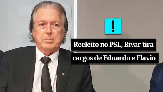 Vídeo: reeleito presidente do PSL, Bivar anuncia que Flávio e Eduardo perdem cargos no partido
