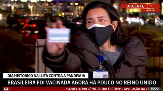 Brasileira é vacinada no Reino Unido