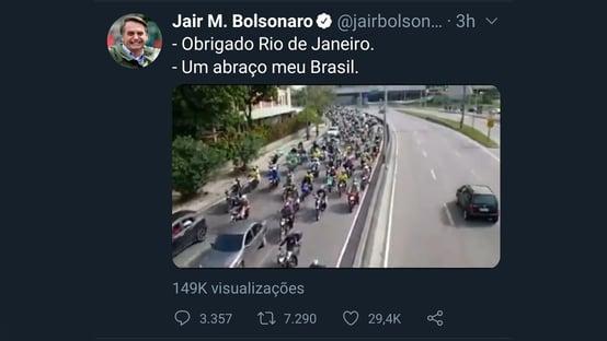 Três dias antes de motociata, Bolsonaro anunciou isenção de pedágio para motos