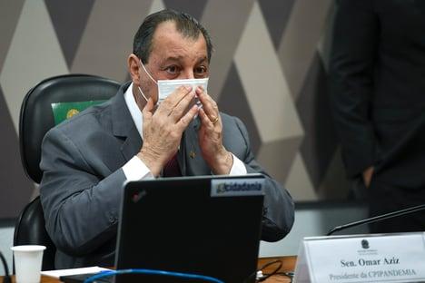 """""""Viu como a CPI está funcionando?"""", diz Omar Aziz, após Bolsonaro solicitar antecipação de doses da Pfizer"""