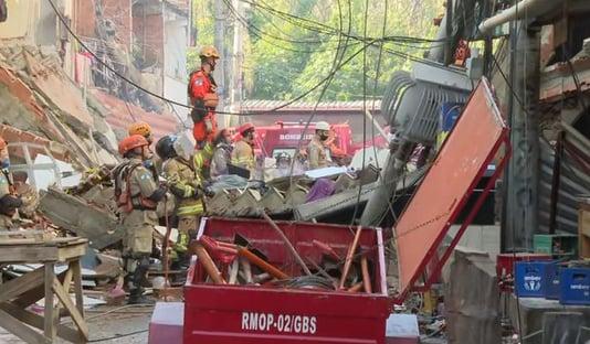 Bombeiros confirmam segunda morte no desabamento de prédio em Rio das Pedras