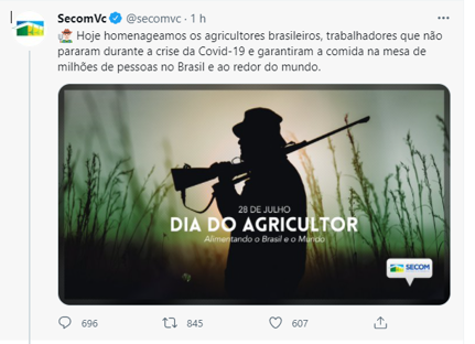 Secom apaga post que exibia homem com arma para representar agricultor