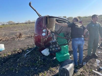Helicóptero com 300 kg de cocaína cai em fazenda no Pantanal