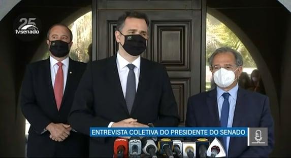 """Após reunião com Guedes, Pacheco confirma acordo para fixar """"teto para precatórios"""""""