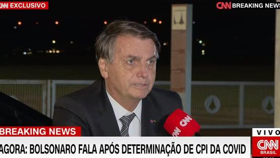 Bolsonaro diz que STF interfere nos outros poderes ao mandar abrir CPI