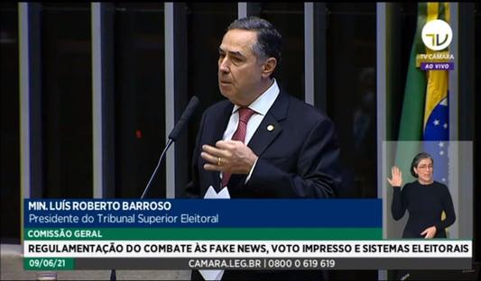 """Barroso: """"Se o Congresso decidir e o STF validar, vai ter voto impresso, mas vai piorar"""""""