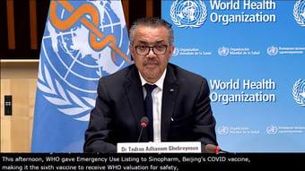 """IMAGEM: """"O uso crescente de reforços é imoral, desigual e injusto e tem que parar"""", diz diretor-geral da OMS"""