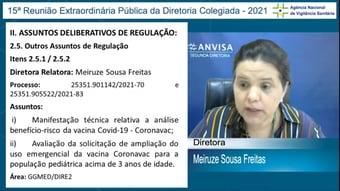 IMAGEM: Por unanimidade, Anvisa rejeita uso da Coronavac em crianças
