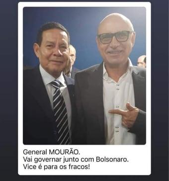 """IMAGEM: Queiroz compartilha post antigo ao lado de Mourão: """"Vai governar com Bolsonaro"""""""