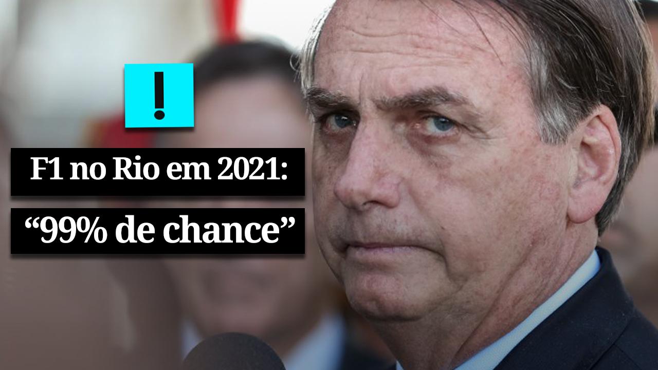 """IMAGEM: Bolsonaro: """"99% de chance"""" de Fórmula 1 ir para o Rio"""
