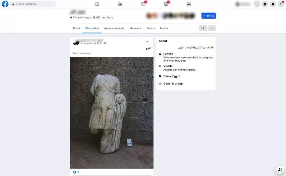 IMAGEM: Facebook deleta evidências de tráfico de objetos antigos, dizem pesquisadores