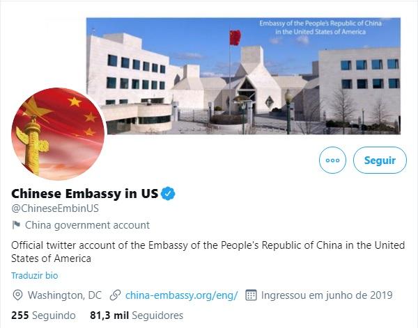IMAGEM: Twitter bloqueia conta da Embaixada da China nos EUA