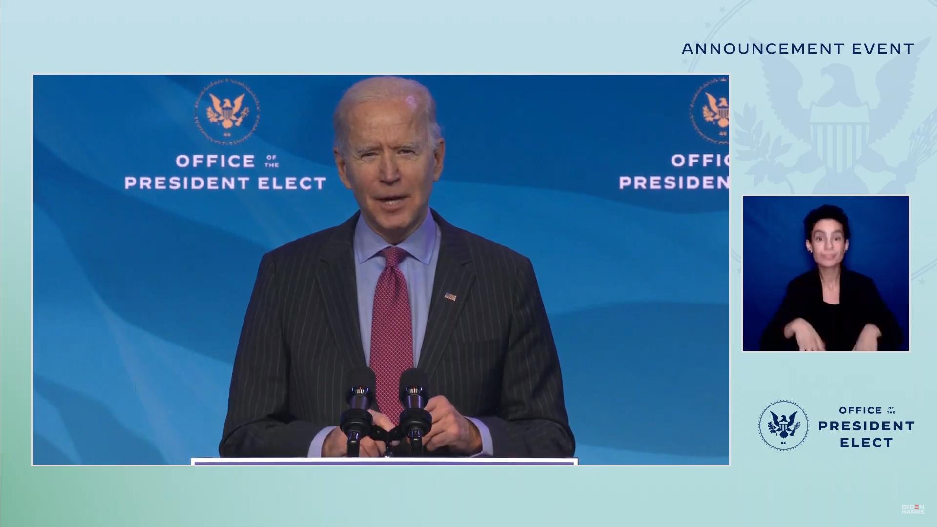 IMAGEM: Gabinete de Biden está completo