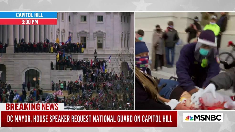 IMAGEM: Mulher é baleada no Capitólio; Guarda Nacional está a caminho