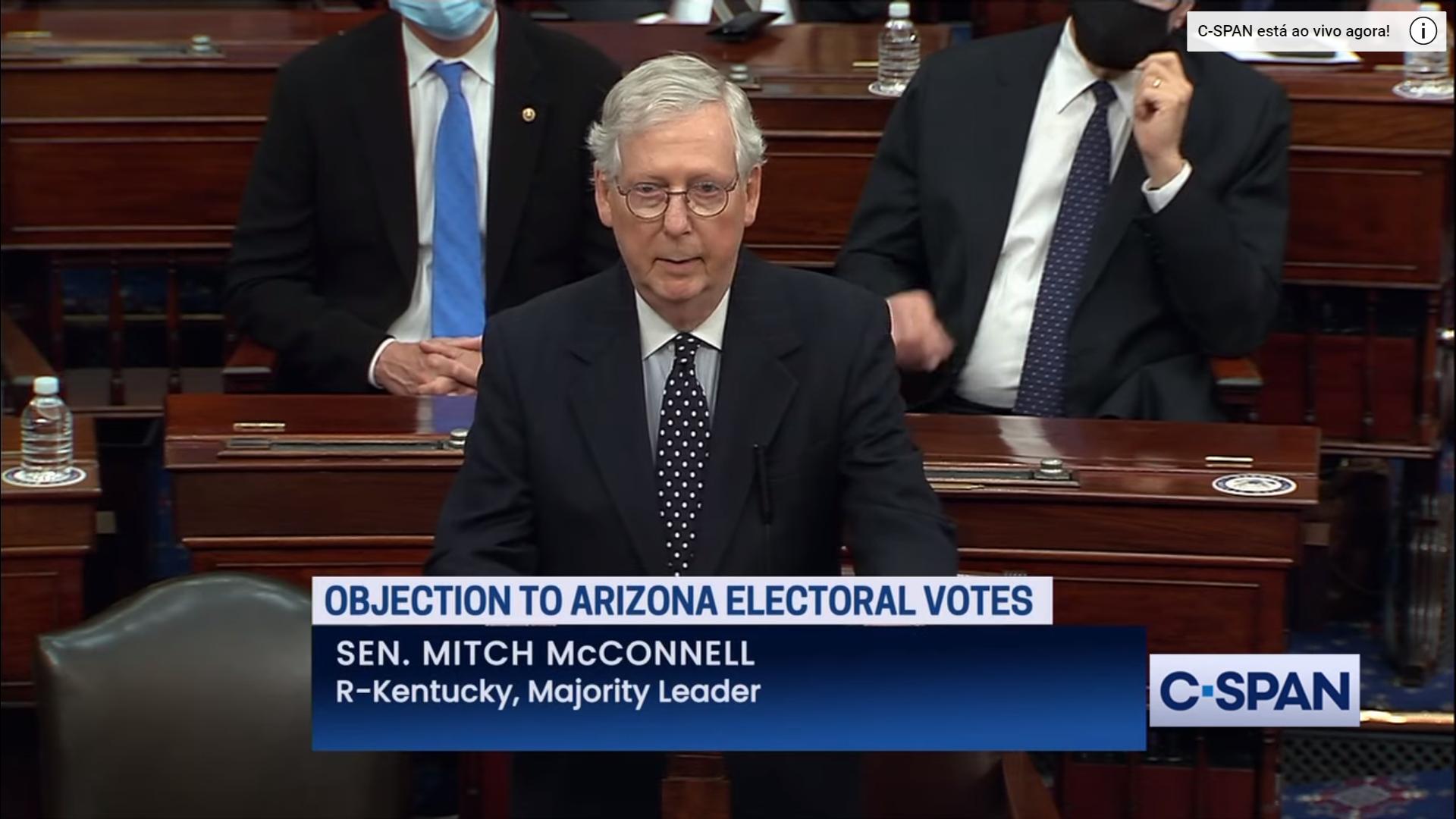 IMAGEM: Líder republicano no Senado diz que contestação do resultado daria em 'espiral da morte'