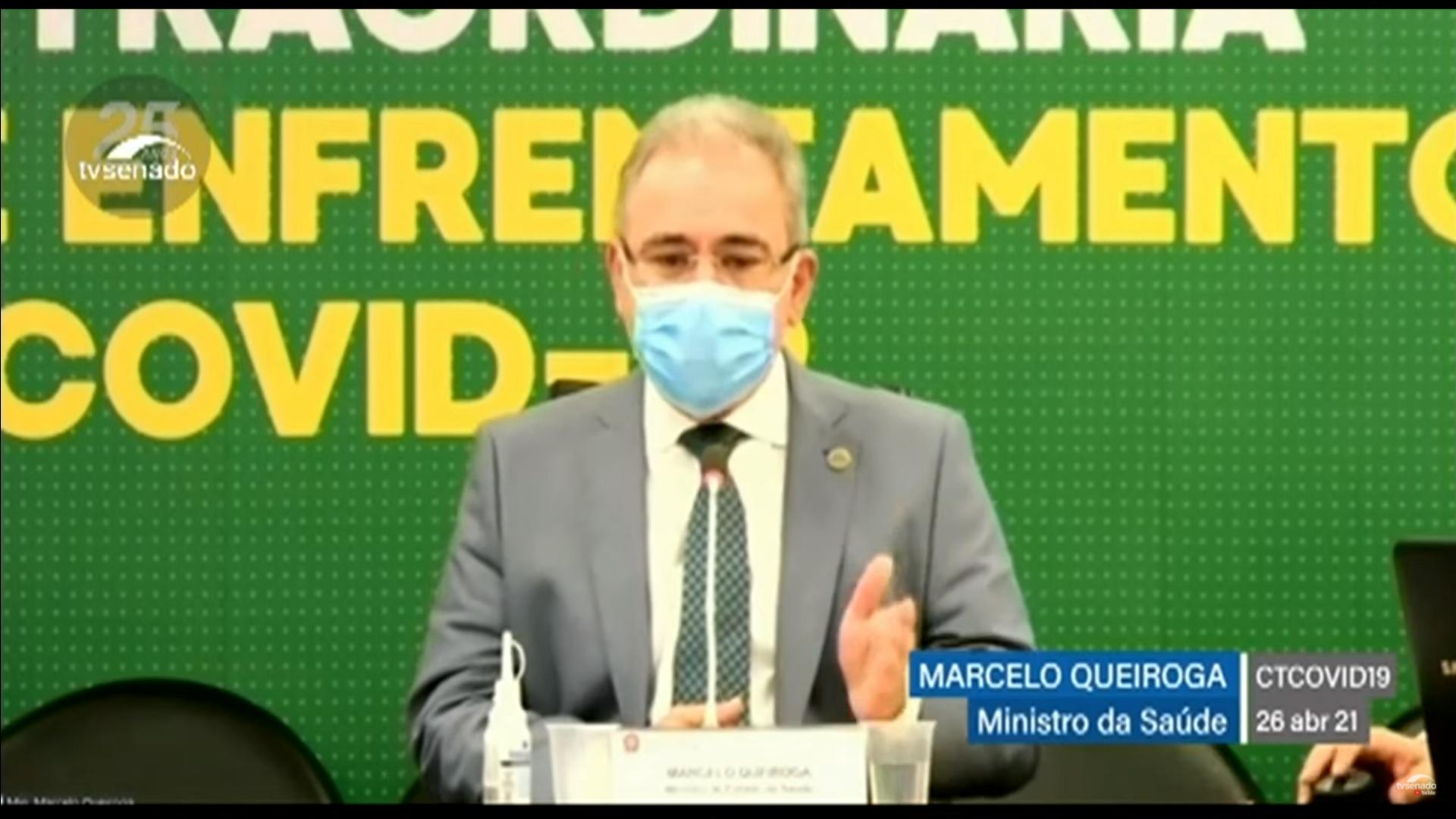 IMAGEM: Queiroga diz que ministério fez 'só uma' requisiçãode 'kit intubação'