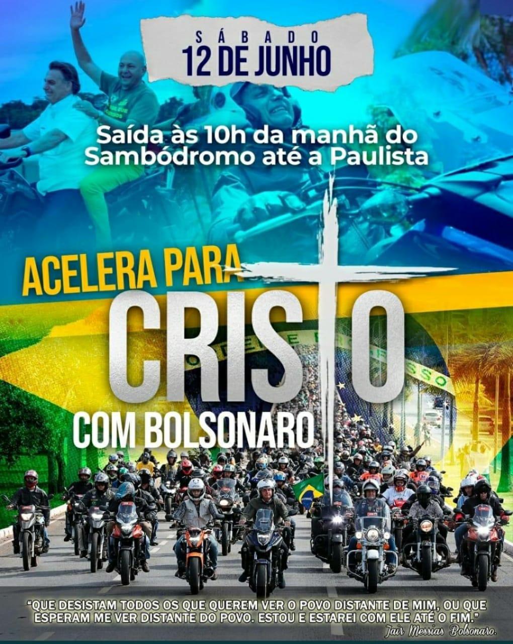 IMAGEM: Bolsonaristas organizam manifestação de 'motoboys com Cristo' em SP