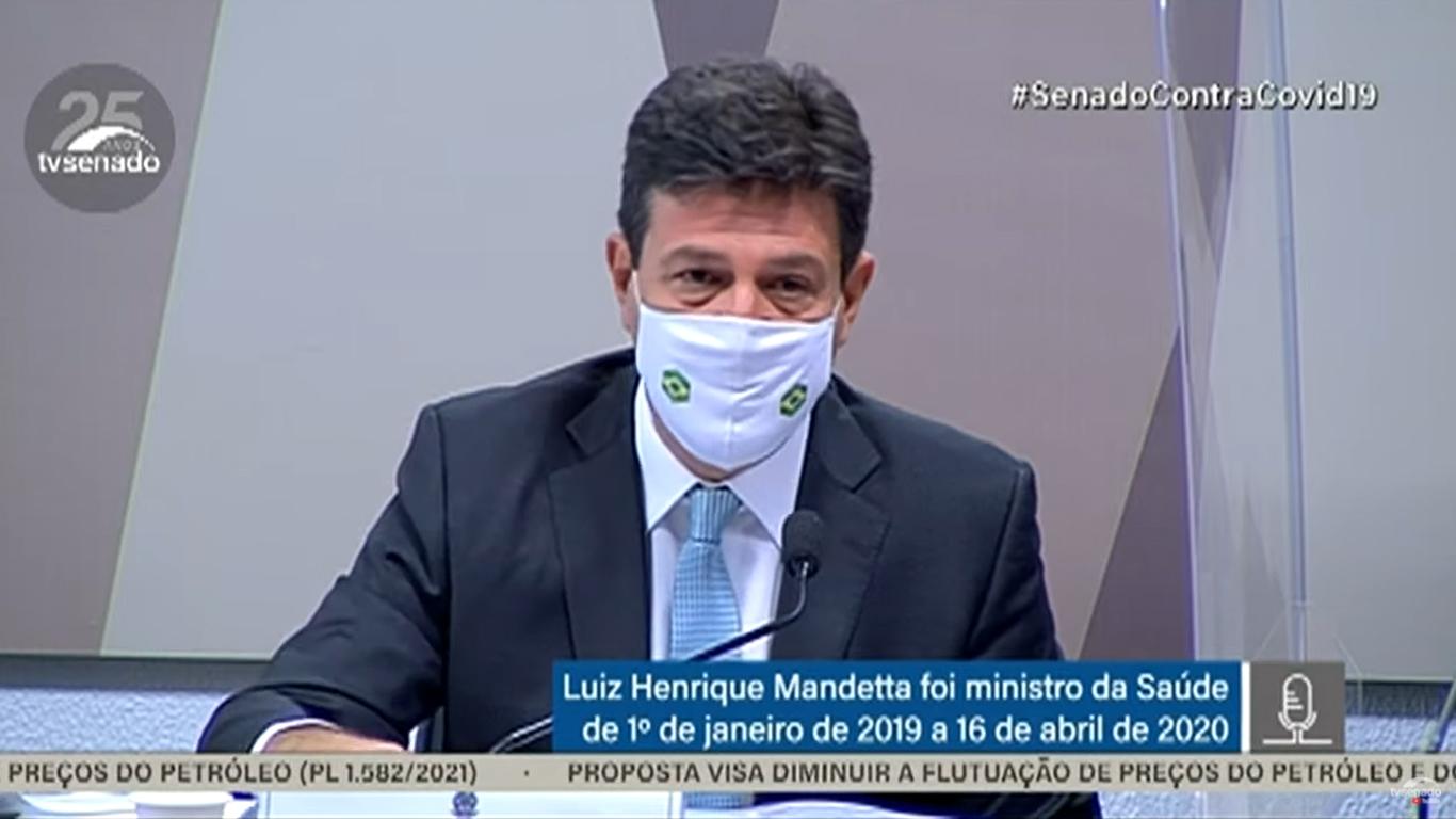 """IMAGEM: """"Tomara que Rancho Queimado tenha descoberto a fórmula"""", diz Mandetta, após fala de senador pró-cloroquina"""