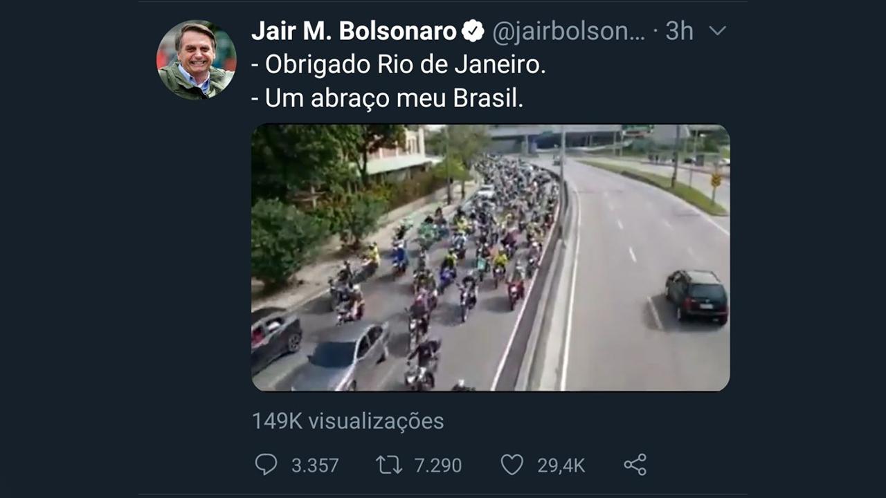 IMAGEM: Três dias antes de 'motociata', Bolsonaro anunciou isenção de pedágio para motos