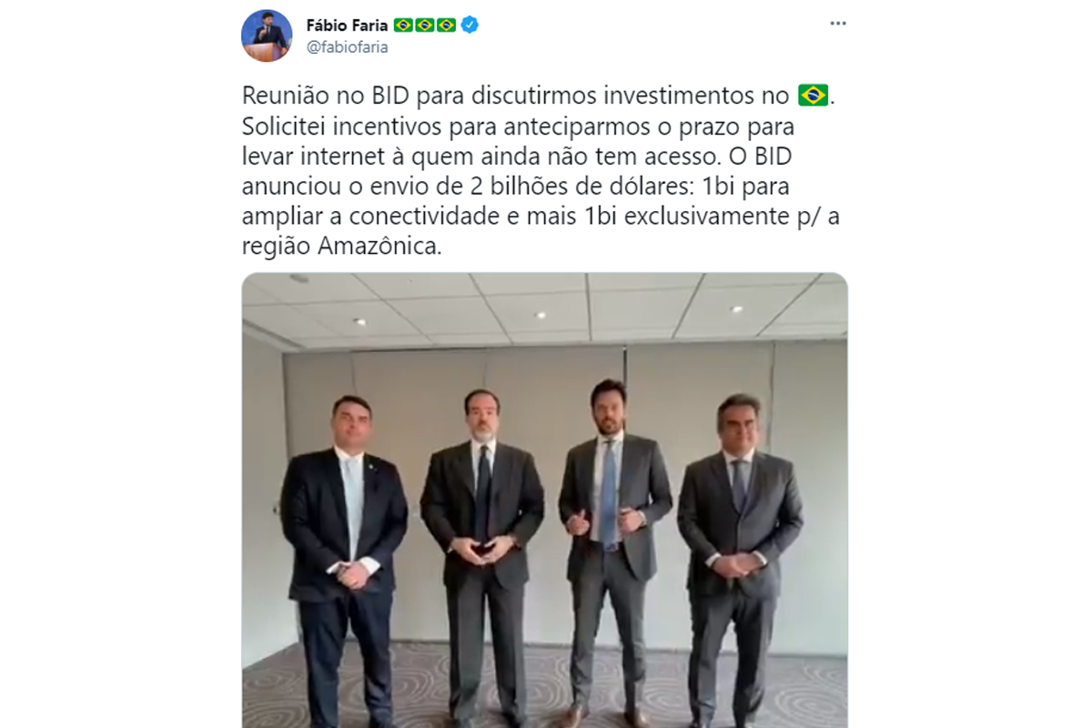 IMAGEM: Flávio Bolsonaro e Ciro Nogueira participam de reunião sobre 5G com presidente do BID