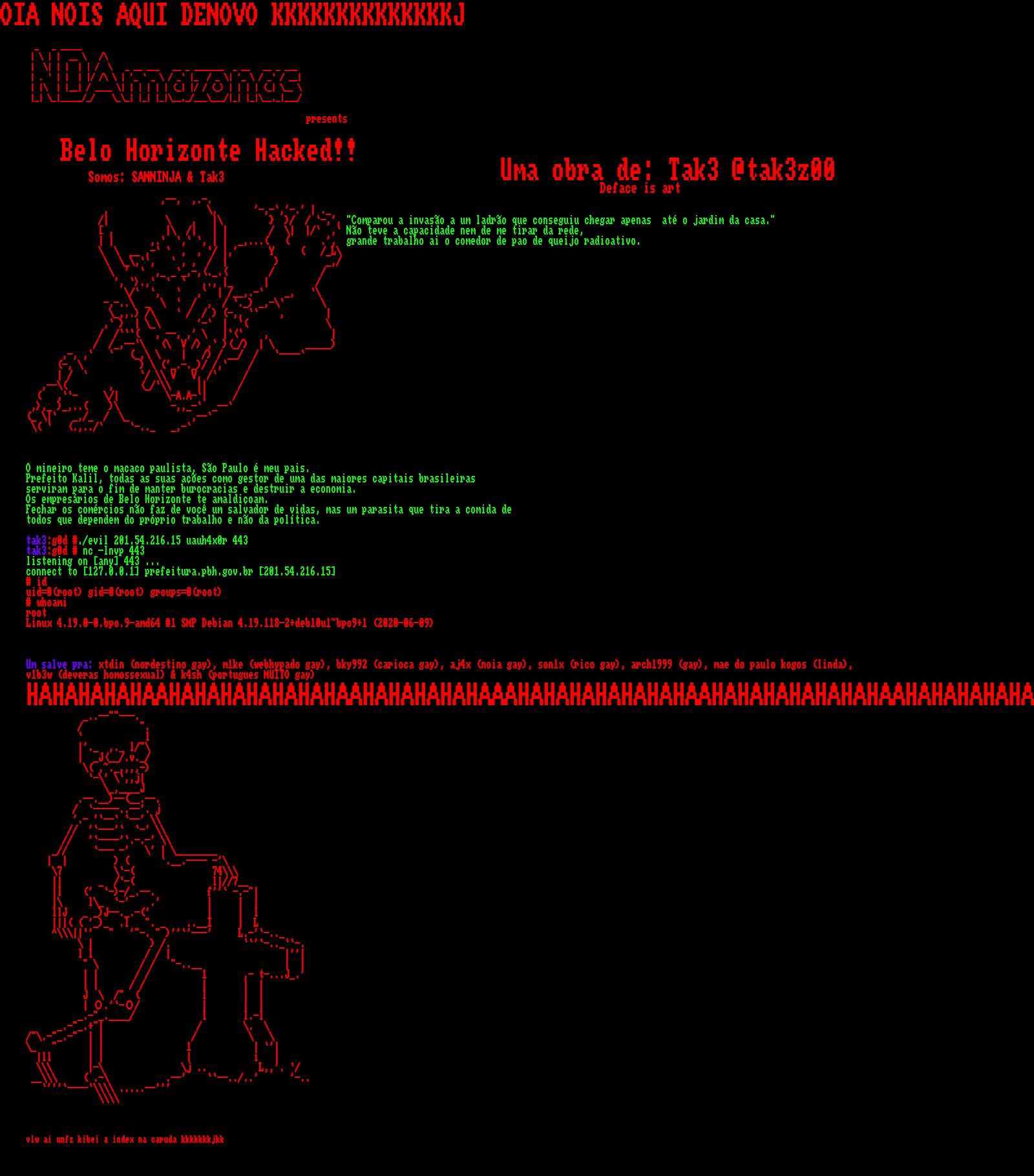 IMAGEM: Site da prefeitura de Belo Horizonte é hackeado