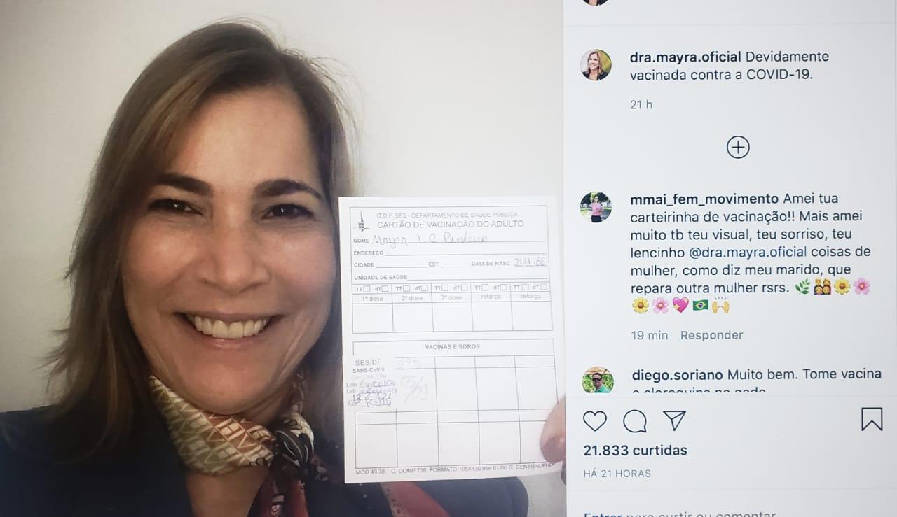 IMAGEM: Vacinada, capitã cloroquina diz que sempre defendeu vacina