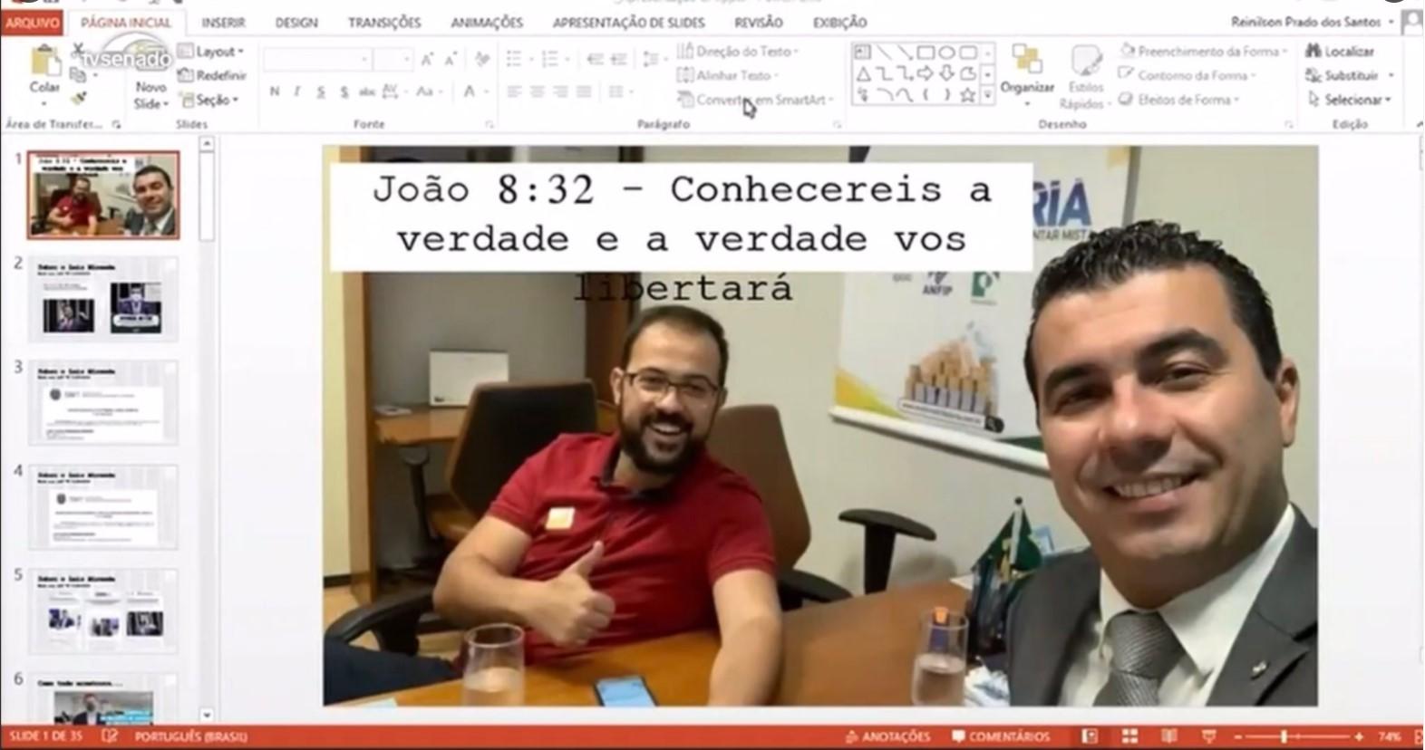 IMAGEM: Capa de powerpoint dos irmãos Miranda tem 'lema' bíblico de Bolsonaro