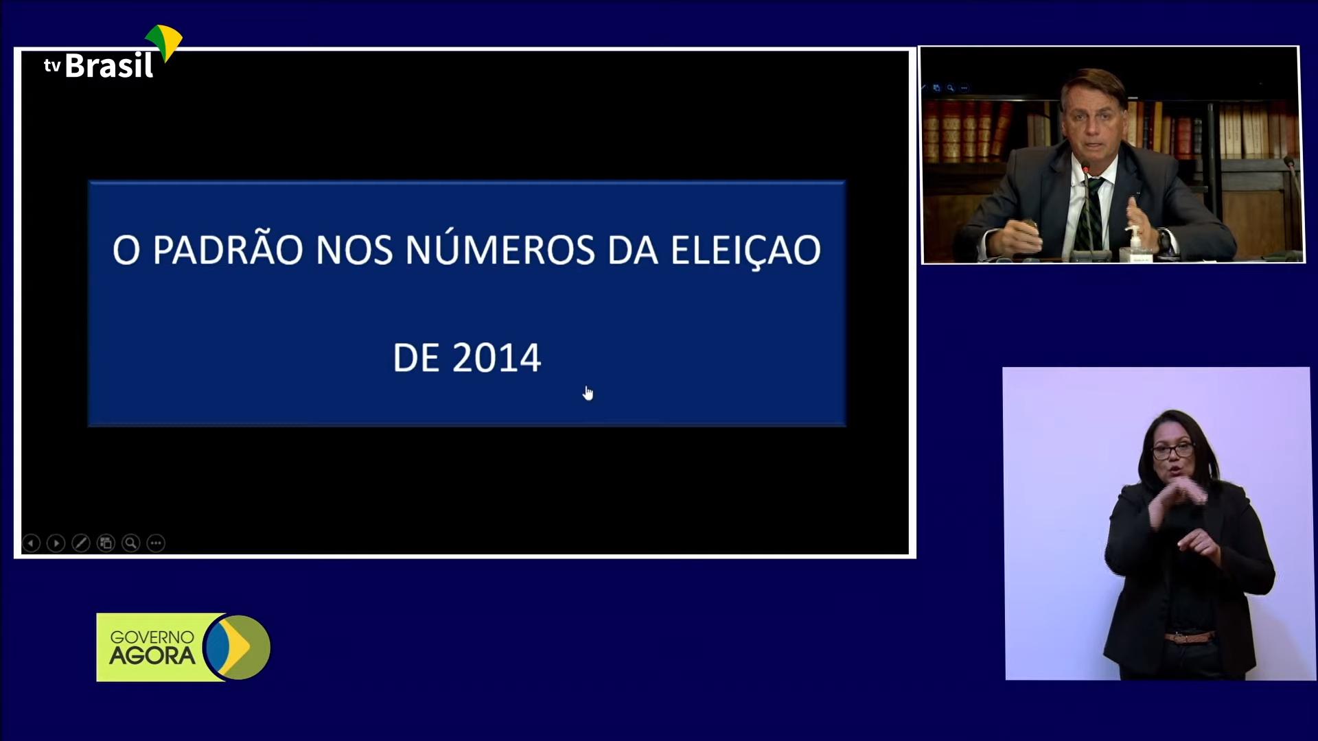 IMAGEM: Bolsonaro mente na TV Brasil ao dizer que eleição de Dilma e Aécio teve 'padrão' suspeito